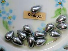 Vintage One Hole Beads Lucite Teardrop Gun Metal Japan Pearl NOS 1 hole (1264N)