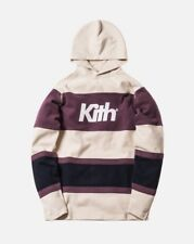 Kith Delk Paneled Hoodie Ivory/Plum/Navy Size Large In Hand Free Ship