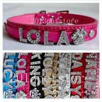 FREE letters Cat necklace rhinestone puppy leather dog collar 7 colors 4 sizes