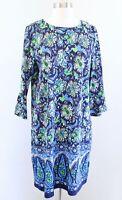 Jude Connally Navy Blue Green 3/4 Sleeve Floral Print Nylon Shift Dress Size L