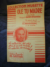 Partitura Olé talla única madre R Mandizabal Music Sheet 1946