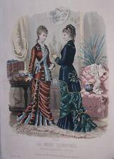 GRAVURE EN COULEUR MODE ILLUSTREE 1878 N° 48 TOILETTES MADAME BREANT-CASTEL