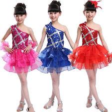 Girls Sequins Jazz dance dress Costumes kids Ballet Ballroom Dancwear 120-150