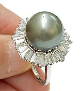 Gorgeous Peacock Gray Green 12.6mm Tahitian South Sea Round Pearl Ring Size 7
