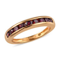 925 Sterling Silver Yellow Gold Over Pyrope Garnet Band Ring Gift Size 7 Ct 0.8