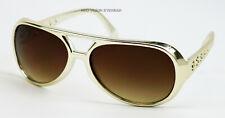 Elvis Gold Brown Vintage Style Aviator Sunglasses Retro Metallic Large BIG