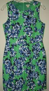 J Crew Gorgeous Green Blue Floral Sheath Dress Textured Pockets Size 4