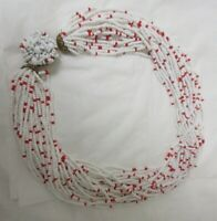 Vintage Gold Tone Hidden Clasp Multi-Strand Red & White Bead Necklace