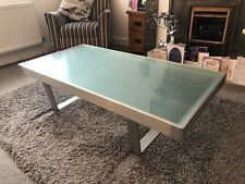 Vintage Designer Aluminium Metal Industrial Sled Glass Coffee Furniture Table
