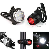 USB Rechargeable LED Bike Light Bicycle Lamp Set Front Light Tail Light Outdoor