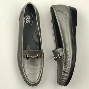 SAS Women Pewter Silver Slip On Tripad Comfort Moccasin Shoes sz 9.5S EUC