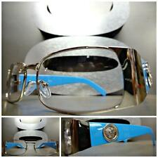 Mens CLASSIC VINTAGE RETRO Style Clear Lens EYE GLASSES Silver & Baby Blue Frame