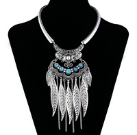 Silver Feathers and Turquoise Choker Native American Style Necklace