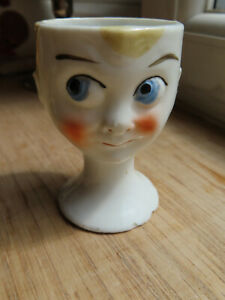 ART DECO Hand Painted Face Egg Cup - Rare