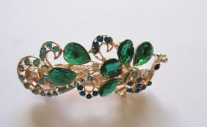 Hair Clip Barrette- Bird- sparkly turquoise, blue & clear stones- long tail