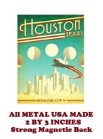 SM328- Houston Texas Travel Poster 2 by 3 Inch Metal Refrigerator Magnet