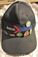 Collectible Amtrak Hat With lot of 6 Rail Road Train Pins Tie Tacks Memorabilia