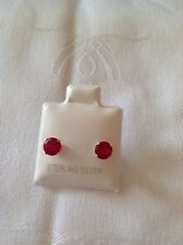Round Red Cubic Zirconia CZ Sterling Silver Studd Earrings 5 mm