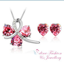 18K White Gold Plated Made With Genuine Swarovski Crystal Three Hearts Pink Set