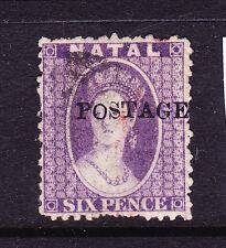 NATAL   1869   6d VIOLET  QV OVPT  FU   SG 30