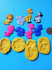 Lion, elephant, zebra, giraffe Zoo Animals 4 set Silicone Mold fondant  165
