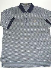 Descente Navy Tan Cotton Polo Golf Short Sleeve Shirt  Men's XL HA