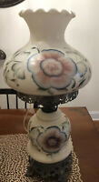 """Hurricane Lamp, Dual Lamp, Floral Frosted Milk Glass 20.5"""" Tall"""