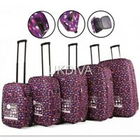 PINK & PURPLE HEARTS Suitcase Cabin On Board Hold Trolley Hand Luggage 2 Wheels
