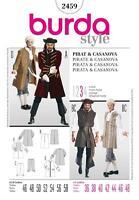 Burda Nähen Muster Herren Kostüm Piraten & Casanova Größen 36 - 48 2459