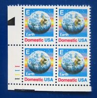 """Sc # 2277 ~ Plate # Block ~ ND (25 cent) """"E"""" and Earth Issue (ce29)"""