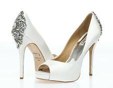 Badgley Mischka Kiara Women's white satin open toe bridal pumps sz. 10