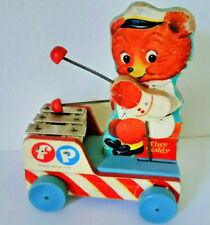 Vintage mid century wooden Fisher Price Tiny Teddy musical pull toy 1950's works