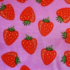 "53"" wide Pink/Red STRAWBERRIES cotton fabric strawberry fruit kawaii craft 1m"