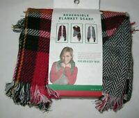 "Womens Ladies Red Plaid Reversible Blanket Scarf 29 x 78"" NEW"