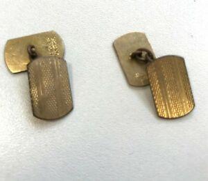 9ct Hallmarked Yellow Gold Vintage Rectangular Etched Cufflinks  5.60g