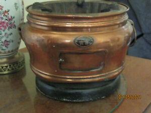 Vintage Japanese Copper & Iron Brazier Hibachi. Teapot.