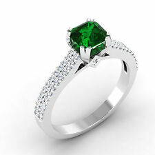 14K White Gold Natural Gemstone Ring 0.71 Ct Diamond Real Emerald Ring Size