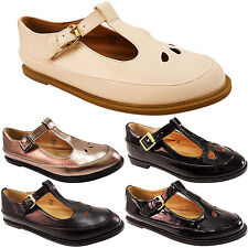 NEW LADIES WOMENS GIRLS BUCKLE T-BAR GEEK CUT OUT SCHOOL PUMPS SHOES WORK SIZE