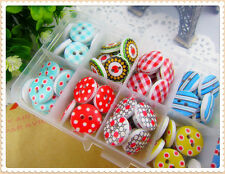10 x Wooden Buttons Randomly Mixed 15mm Patterned Design Sewing Scrap Booking