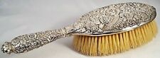 Rare c1880 TIFFANY STERLING SILVER REPOUSSE HANDLED HAIR BRUSH Floral & Foliate