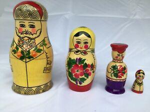 "4 VTG Russian Soviet Wooden Nesting Dolls ""FAMILY"" Matryoshka"