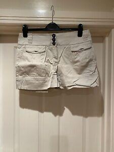Mango MNG Ladies Cotton Cargo Beige Short Size L