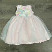 Marmellata Girls Dress Pink Floral Sequence Tulle Layered Back Bow Tie Size 24 M