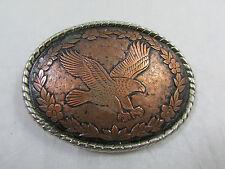 Vtg Women's Copper Silver Plated Eagle Floral Western Belt Buckle