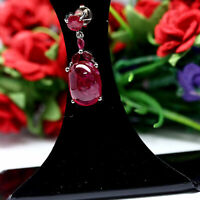 NATURAL 10 x 14 mm CABOCHON RED RUBY & WHITE CZ PENDANT 925 STERLING SILVER