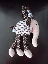 47- DOUDOU PELUCHE DPAM DU PAREIL AU MEME ELEPHANT GRELOT MARRON BLEU 23cms TBE