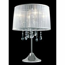Lampe De Table Cristal Intensité Variable Organza Argent Tissu Blanc Lampe