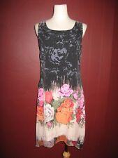 NWT Citron Santa Monica 100% silk XS floral asymmetrical sleeveless dress AO2