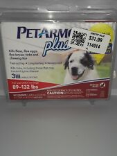 Pet Armor Plus Flea Tick Treatment For Dogs 89-132 Lb 3 Applications New Sealed