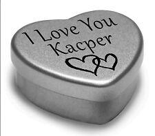 I Love You Kacper Mini Heart Tin Gift For I Heart Kacper With Chocolates